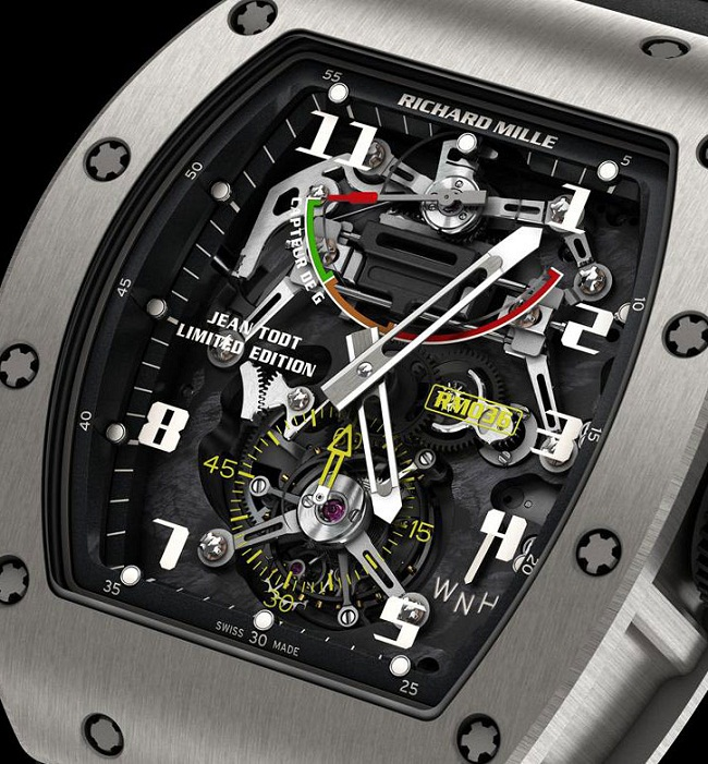 Часы Richard Mille Tourbillon G-Sensor RM 036 Jean Todt Limited Edition циферблат