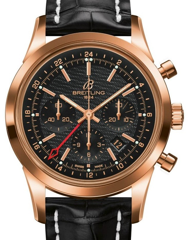 Breitling Transocean Chronograph GMT gold dial