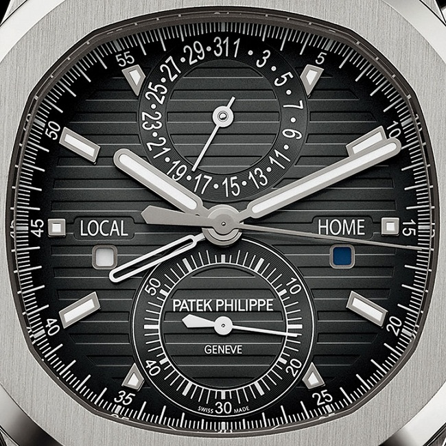Patek Philippe Nautilus Travel Time Chronograph dial