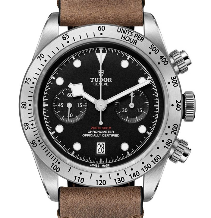 Tudor Heritage Black Bay Chrono 79350 leather front