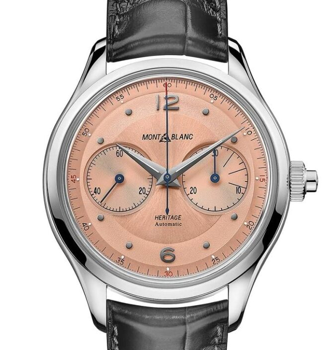 Montblanc Heritage Monopusher Chronograph Salmon Dial 126078 front